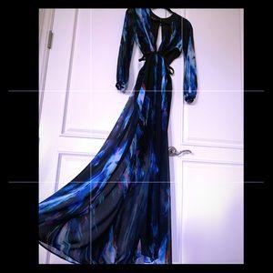 Black/multi Bebe maxi dress